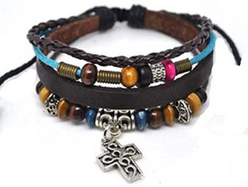 4030063 Christian Religious Scripture Inspirational Cross Leather Bracelet