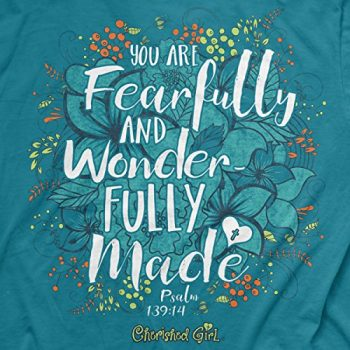 Cherished Girl Wonderfully Made Flowers Women's Christian T Shirt