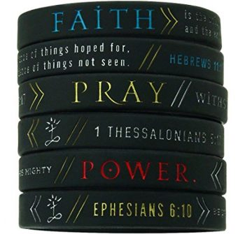 Inkstone (6-pack) Faith, Power, Pray Bible Wristbands – Hebrews 11:1, Ephesians 6:10, 1 Thessalonians 5:17