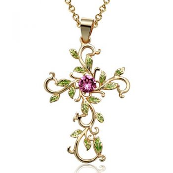 Angelady God We Trust Cross Pendant Necklace With Gold PlatedPink Crystal From SwarovskiGifts For Her 0