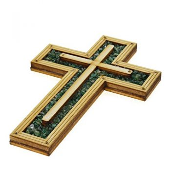 Decorative Christian Wooden Wall Cross Embedded With Special Energy Green Natural TOURMALINE Stones Gems 6.5″ By DiLord