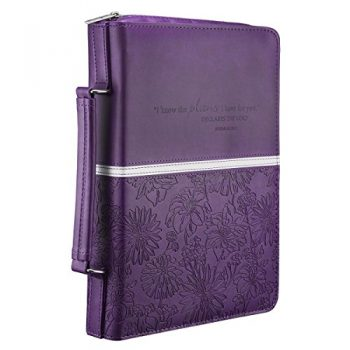 Floral Embossed Bible / Book Cover – Jeremiah 29:11 (Large, Purple)