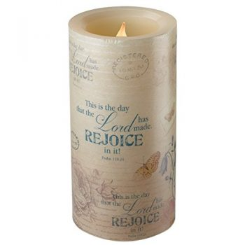 Floral Inspirations Collection Flickering Flameless Wax Pillar Candle (Medium 4 X 7 7/8 Inch) – Psalm 118:24