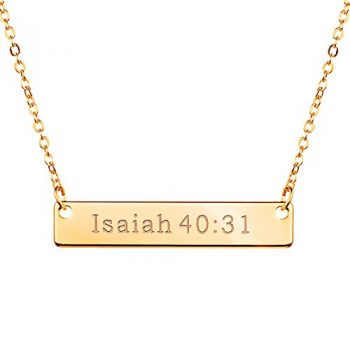 Gold Christian Necklace Bar Necklace Bible Verse Necklace Faith Necklace Sister Necklace Baptism Gift Birthday Gift (Isaiah 40:31)