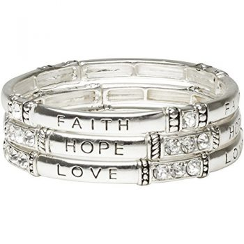 Heirloom Finds Faith, Hope, Love Stretch Silver Tone Crystal Bracelet Trio Stack