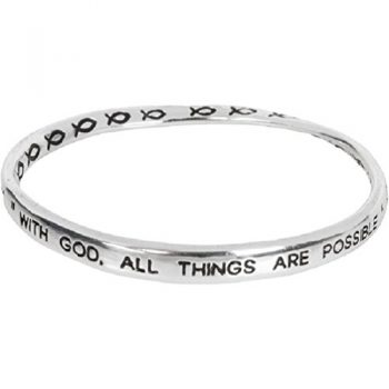 Heirloom Finds Silver Tone With God All Things Are Possible Twist Bangle Bracelet