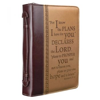 """I Know The Plans"" Two-tone Bible / Book Cover – Jeremiah 29:11 (Large)"