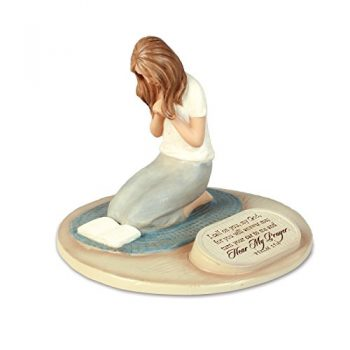 Lighthouse Christian Products Devoted Praying Woman Sculpture, 6 X 6 X 5″
