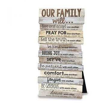 Lighthouse Christian Products Our Family Will Wall/Desktop Plaque, 5 X 10″