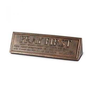 Lighthouse Christian Products Pray First Desktop Reminder Plaque, 6 1/2 X 1 3/4″