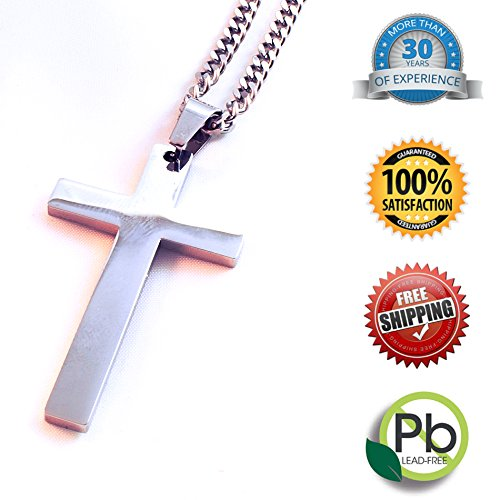 Linda Roberts Jewelry Christian Cross Pendant Necklace With Chain Mens Womens Stainless Steel Simple Style 24 Chain Length 0 0