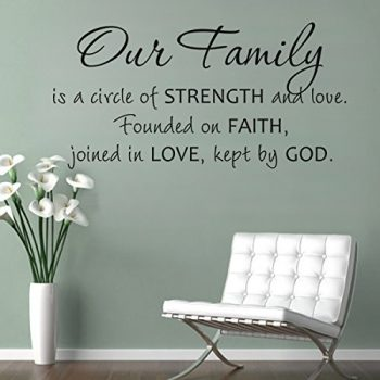 MairGwall Religious Sticker Our Family Is A Circle Of Strength And Love Christian Wall Quote Wedding DecorationSmallBlack 0