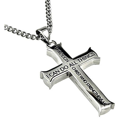 Philippians 4 13 jewelry cross necklace strength bible for Stainless steel jewelry durability
