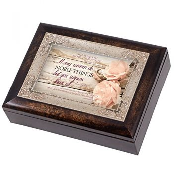 Proverbs 31 Woman Distressed Italian Design Jewelry Music Box Plays Amazing Grace