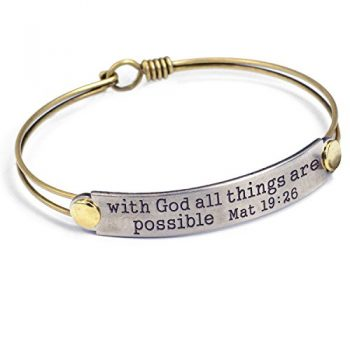 With God All Things Are Possible Mat 1926 Engraved Bible Verse Inspirational Faith Religious Bar Bangle Bracelet 0